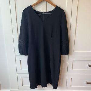 Talbots Little Black Dress with Crochet Sleeve